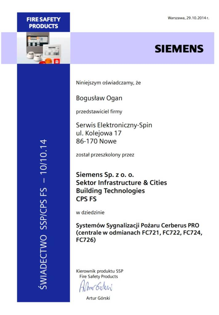 System Sygnalizacji Pożaru Cerberus Pro FC721, FC722 ,FC724